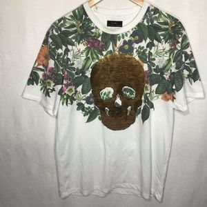 Zara Floral Shirt with Color Changing Skull